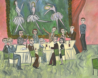 Forgotten artists and poets of the Left Bank.  Limited edition print by Vivienne Strauss.