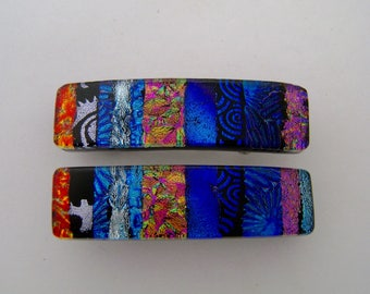 Very Small pair of dichroic glass hair barrettes.