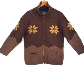 NORDIC WOOL vintage 80's sweater // Everest Designs ski cardigan // zip-up sweater jacket // snowflakes // size S