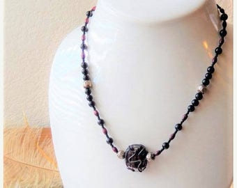 ChristmasInJulySALE..... Sale......One of a Kind Lampwork Glass, Sterling Silver, Czech Glass & Wood Necklace