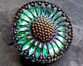 Sunflower Button, Glass Button, Vitrail, Glass Czech Button, Bohemian Button, Flower Button, Bohemian Button, Floral Button, Boho Button-1