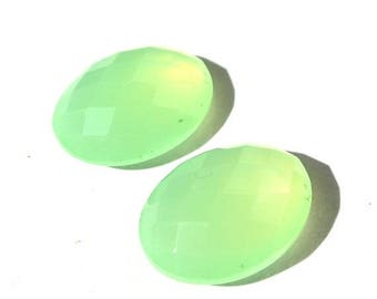 50% Off Sale 16x12mm AAA Genuine Prehnite Chalcedony Faceted Rose Cut Oval Cabochon 2Pcs 1 Matched Pair