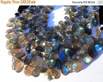 50% Off Sale Full 8 Inches Sparkling Blue Flashy Genuine Labradorite Faceted Pear Briolettes Size 11x8 - 10x8mm approx