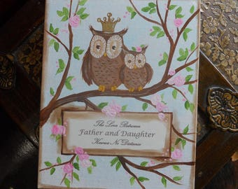 Father and Daughter Owl Quote Painting