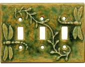 Dragonflies Ceramic Light Switch Cover- Triple Toggle -Green Ocher Glaze