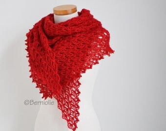Crochet lace shawl, Red, R598