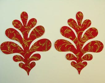 Feather Flourish Fabric Applique  Iron On 2 Piece Set