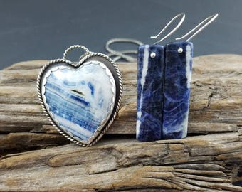 Argentium silver and sodalite bar earrings