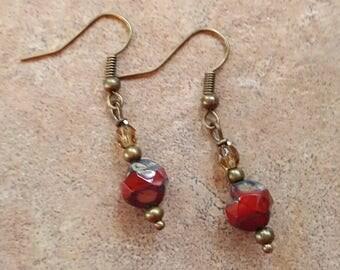 Red glass earrings handmade