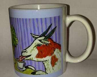 20 % off storewide Goat at the cafe coffee shop art mug cup 11 oz gift