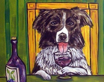 20 % off storewide Border Collie at the Wine Bar Dog Art Tile Coaster