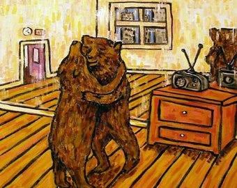 20% off storewide Dancing Bears - brown bear, black bear ,  print on tile, ceramic coaster, gift , modern folk abstract pop