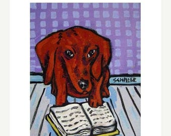 20% off Dachshund Reading Dog Art Print
