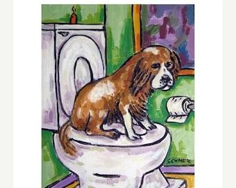 20% off Cavalier King Charles Spaniel in the Bathroom Dog Art Print