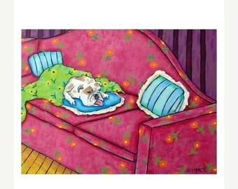 Bulldog, 11x14 art PRINT, bulldog art, bulldog PRINT, dog, dog art, sleeping, bedroom, bedroom art
