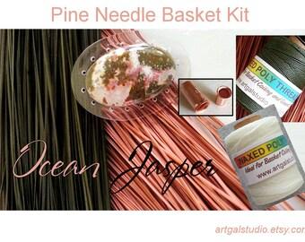 Pine Needle Basket Kit Dusty Rose Dyed Pine Needles Ocean Jasper Cabochon Waxed Thread  Unakite Jasper Beads
