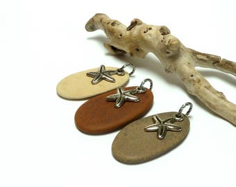 Genuine Drilled Beach Stone Pendants STAR STUDDED Lake Stone Upcycled Top Drilled Pebbles River Rocks Silvertone Starfish Charms