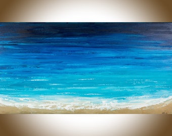 Ocean weave ocean wall art Original seascape painting blue turquoise Original artwork painting on canvas Wall art wall decor by qiqigallery