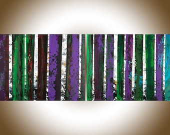 Abstract painting birch tree art wall art wall decor Original Artwork Impasto art by qiqigallery