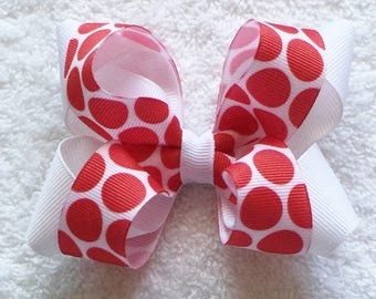 Red And White Bow Polka Dot Hair Bow Barrettes And Clips Girls Hair Bows Hair Accessories Red Polka Dot Bow Toddler Hair Bow Infant Hair Bow