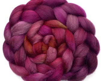 BFL/Silk Combed Top Roving Custom Blend, Cherry Chutney 5.4 oz.