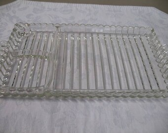 Vintage Glass Compartment Snack and Hors D'oeuvres Servers