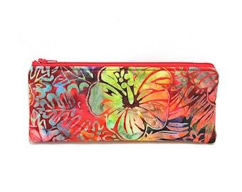 Cosmetic Case, Cord Case, Bridesmaid Gifts, All-Purpose Zipper Case, Colorful Floral Batik 9030