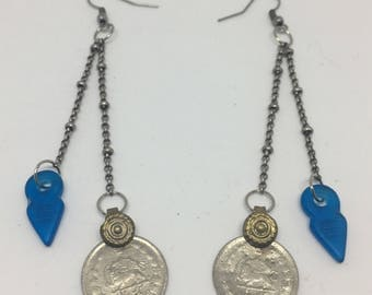 Vintage talhakimt and kuchi coin dangle earrings