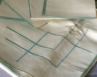 Vintage Irish Ireland table cloth and four napkins embroidered with green pattern with original box - Shamrock Linen - NOS new old stock