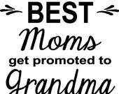 The best moms or dads get promoted to grandma or grandpa iron on decal, 10 x 10 in choice of color and style, do it yourself