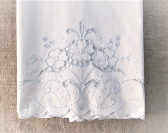 Vintage Madeira Pillowcase Bed Linens Hand Embroidered Icy Blue Embroidery Linen Bedding Vintage Linens