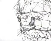 Calder Style Midcentury Modern Metal Wire Head Sculpture