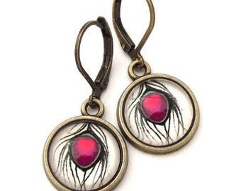 Pink Peacock  Feather Glass Photo Earrings  Nickel Safe