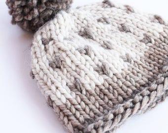 Chunky knit hat, brown, knit beanie, pom pom hat, pom pom beanie, winter hat, knit hat, baby pom pom hat, knit beanie, baby hat, knitted hat