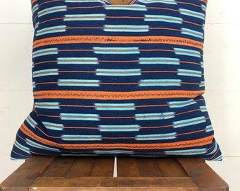 "Vintage African Baule indigo & orange 19"" pillow cover / boho / modern / limited quantity !"