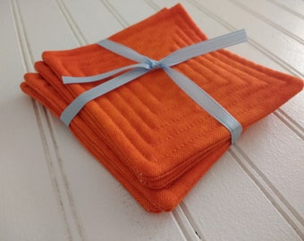 Set of 4 Quilted Coasters - Orange