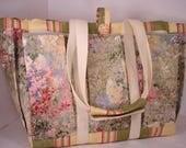Monet's Garden Tote Bag for Travel, Garden, Craft, Baby Diaper Bag or Knitting