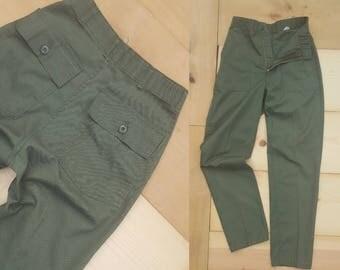 "Vintage Military Pants //  Vtg 50/50 High Waist Olive Drab Utility Trousers  // 28"" waist"