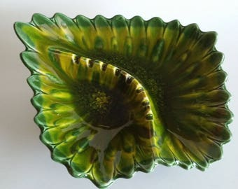 California Style 2701 Green and Yellow Vintage Ashtray