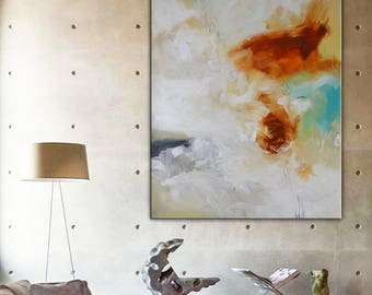 Original Abstract white Painting, orange blue painting on canvas, ready to hang, contemporary Large blue turquoise white aqua