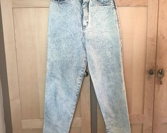 Vintage Acid Wash Jeans // High Waisted // Cropped Ankle // 80s Party // 1980s Clothing // Glam Rock // 24 25 Waist // XXS XS
