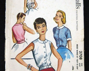 1950s McCalls sewing pattern 3708  Misses blouse set size 14 bust 332 Easy to sew pattern