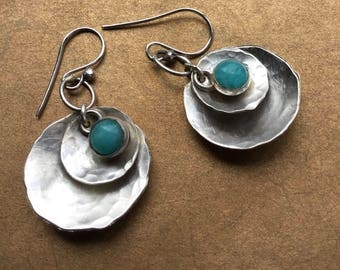 Sterling Silver Disc and Amazonite Earrings