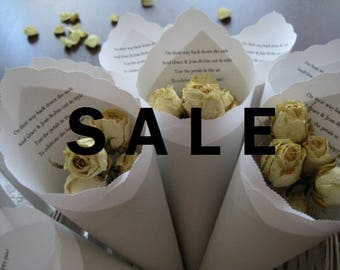 SALE - Wedding Toss, Favor Cones in Pale Gray + Pure White + Black Ink for Petal, Confetti, Favor, Ceremony, Send Off - Bistro Collection