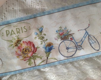 """Limited Supply - PARIS FOREVER - VINTAGE Paris Bicycles  - Lovely French Script - Eiffel Tower - Paris Street Address -  Extra Wide 6"""" -"""