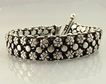 Vintage Sterling Bracelet Ethnic Tribal Rajasthani 80 Grams