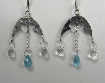 Quartz and apatite briolette earrings