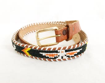 Vintage  70s Southwestern Native American Beaded Belt