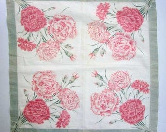 Antique Edwardian 1910 Vintage Floral  Printed Linen Bandana, Handkerchief, Doily, PInk and White w Carnation Flowers, Time Faded Mellow