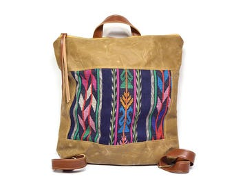 bucket backpack • guatemalan textile - waxed canvas backpack • geometric stripe - brown waxed canvas - gifts under 100 - backpack